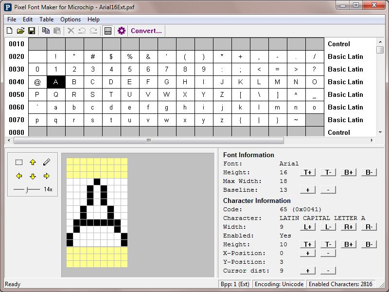 Pixel Font Maker, another Microchip Graphics Resource